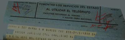 Telegrama que ratifica una pena de mort.