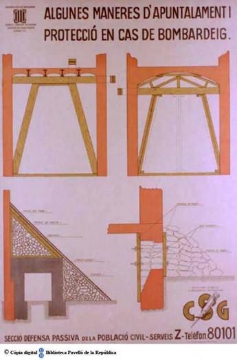 Cartell Algunes maneres d'apuntalament...  Fons de cartells del Pavelló de la República (CRAI-UB).