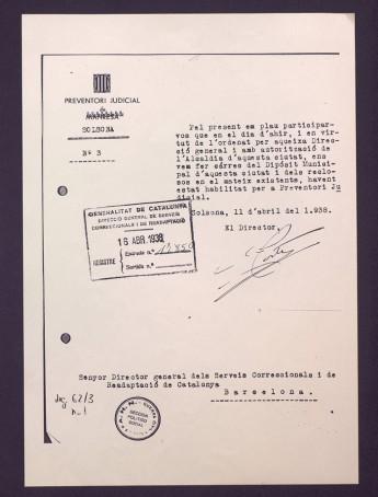 Ofici del director del Preventori de Lleida Eduard Costa comunicant al director dels Serveis Correccionals que es fa càrrec de la presó municipal de Solsona, que esdevé Preventori Judicial. 11 d'abril de 1938.