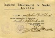Certificat de vacunació del funcionari de presons Antoni Fort Duró. Solsona, 1938.